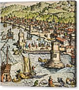 Seville: Departure, 1594. /ndeparture For The New World From Sanlucar De Barrameda, The Port Of Seville, Spain. Line Engraving, 1594, By Theodor De Bry Acrylic Print