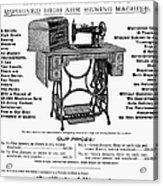Sewing Machine Ad, 1895 Acrylic Print