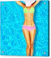 Sexy Woman Body In The Pool  Acrylic Print by Anna Om