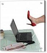 Sexy Woman Kicks A Laptop  Acrylic Print