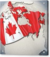 Shape And Ensign Of Canada On A Globe Acrylic Print by Dieter Spannknebel