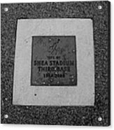 Shea Stadium Third Base In Black And White Acrylic Print