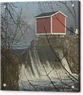 Shed By The Dam In Fog Acrylic Print