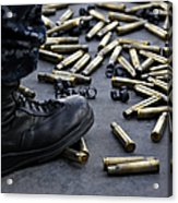 Shell Casings From A .50 Caliber Acrylic Print