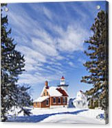 Sherwood Point Lighthouse And New Snow -  - D001650 Acrylic Print