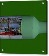 Ship On A Bottle With Green Acrylic Print