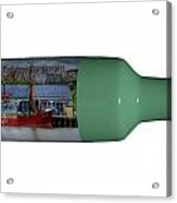 Ship On A Bottle With White Acrylic Print