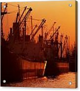 Shipping Freighters At Sunset Acrylic Print