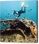 Shipwreck And Diver Acrylic Print