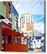 Shops On A City Street Acrylic Print by Eddy Joaquim