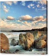 Shoreline Rocks And Fence Posts Folly Beach Acrylic Print by Jenny Ellen Photography