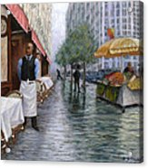 Shower On Sixth  Avenue Acrylic Print by Victor Zucconi