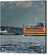 Shuttle Enterprise Glides Past Staten Island Ferry Acrylic Print by Tom Callan