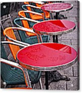 Sidewalk Cafe In Paris Acrylic Print by Elena Elisseeva