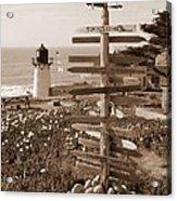 Sign At Point Montara Lighthouse - Sepia Acrylic Print