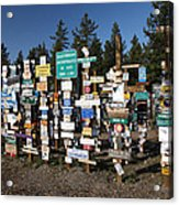 Sign Posts Forest In Watson Lake Yukon Acrylic Print by Mark Duffy