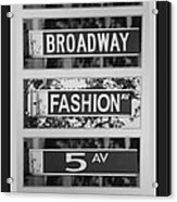 Signs Of New York In Black And White Acrylic Print by Rob Hans