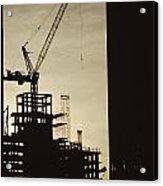 Silhouette Crane At A Skyscraper Acrylic Print