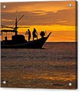 Silhouette Fisherman Boat Sunset Huahin Thailand Acrylic Print by Arthit Somsakul