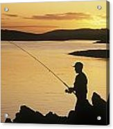 Silhouette Of A Fisherman Fishing On Acrylic Print
