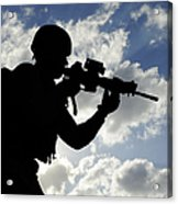 Silhouette Of A Soldier Acrylic Print