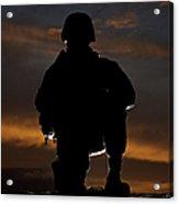 Silhouette Of A U.s. Marine In Uniform Acrylic Print