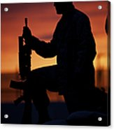 Silhouette Of A U.s Marine On A Bunker Acrylic Print
