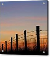 Silhouette Of Barbed Wire Fence Acrylic Print