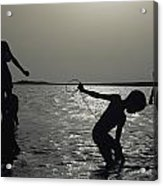 Silhouette Of Boys Fishing Acrylic Print
