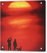 Silhouette Of Couple With Dog, Man Aiming, Sunset Acrylic Print