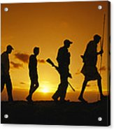 Silhouette Of Laikipia Masai Guides Acrylic Print by Richard Nowitz