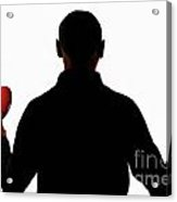 Silhouette Of Man Holding Heart And Rose Acrylic Print