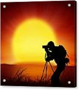 Silhouette Of Photographer With Big Sun  Acrylic Print