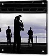 Silhouette Of Sailors In The Hangar Bay Acrylic Print
