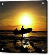 Silhouette Surfers Acrylic Print