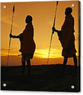 Silhouetted Laikipia Masai Guides Acrylic Print by Richard Nowitz
