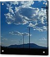Silhouetted Telephone Poles Under Puffy Acrylic Print