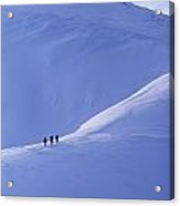 Silhouettes Of Walkers Climbing At Ridge Acrylic Print