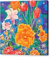 Silk Blooming Flowers Acrylic Print by Sandra Fox
