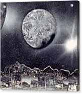 Silver And Black Space City Acrylic Print
