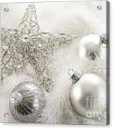 Silver Holiday Ornaments In Feathers Acrylic Print