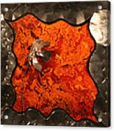 Silver Metal Flower On Orange Acrylic Print