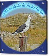 Singing Seagull Christmas Card Acrylic Print