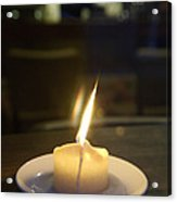 Single Candle Flame, Defocussed Acrylic Print