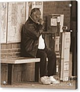 Sitting At The Train Stop Acrylic Print