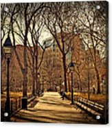 Sitting In The Park Acrylic Print by Kathy Jennings