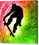 Skateboarder In A Psychedelic Cyclone Acrylic Print