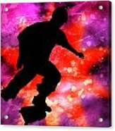 Skateboarder In Cosmic Clouds Acrylic Print