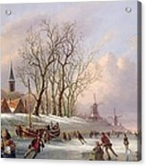 Skaters On A Frozen River Before Windmills Acrylic Print
