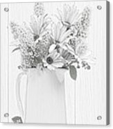 Sketched Vase Of Flowers Acrylic Print